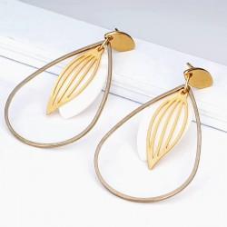 Details zu  Perlmutt Tropfen vergoldete Ohrringe Creolen Stecker