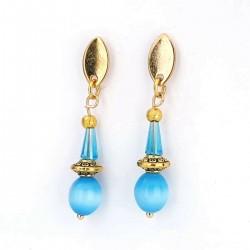 Tropfen blaue Kristall Ohrringe vergoldet nickelfrei