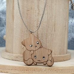 2 Süße Katzen Halskette mit Holz