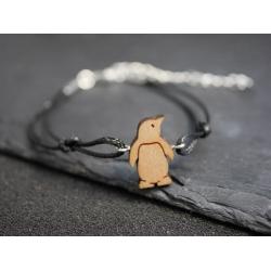 armband mit echt holz pinguin