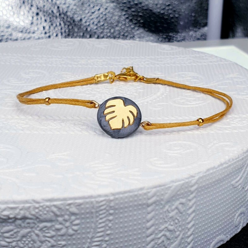 Monstera Armband gold