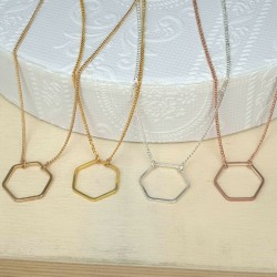 Halsketten Sechseck Hexagon Anhänger