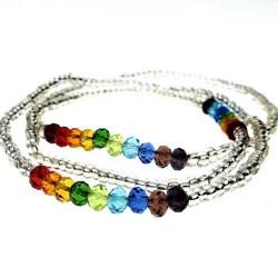 handgemacht Elastisches Perlenarmband mit Regenbogen