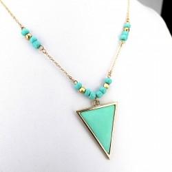 Türkises goldenes Dreieck Anhänger Halskette