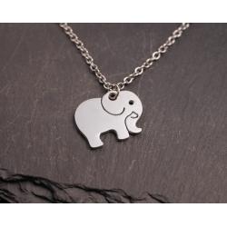 Halskette mit Edelstahl Elefant Anhänger - silber