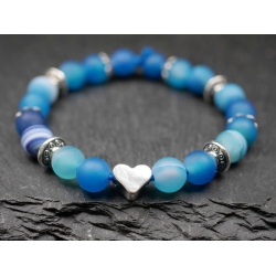 Armband Glasperlen Herz blau