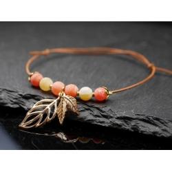 Leder Armband mit Blättern